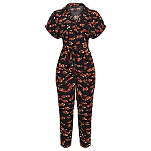 387d1415587 Women's Flower Patterned Short Sleeve Button Up Jump Suit With Belt  &