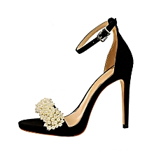 6c6d4a34f8 Women 11cm Ankle Strip Suede Heeled Sandals Pearl Wedding Party Shoes  (Black)