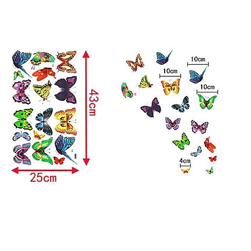 17pc Colourful Butterflies Wall Stickers Transparent Vinyl Decal Home Kids Decor