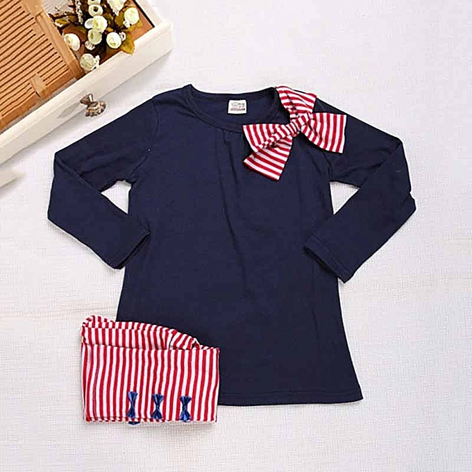 bb60361c80f3 Kids Girls Bow Striped Leggings Suit Long Sleeve Shirts Tops Sets  (Color:Navy Blue