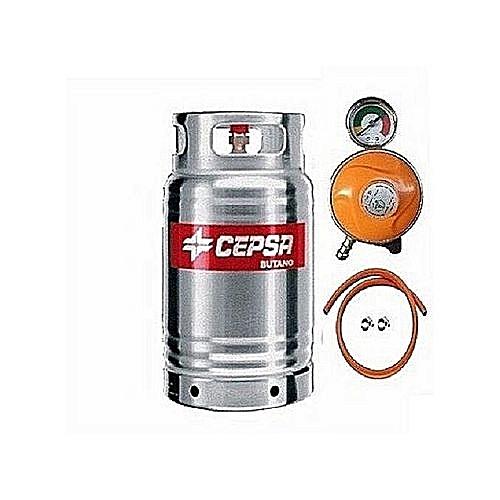 Stainless 12.5kg Gas Cylinder With Hose + Clip & Metered Regulator