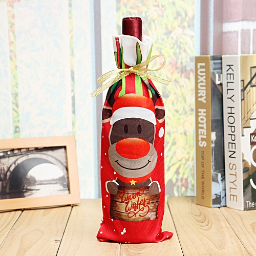Christmas Wine Bottle Decorative Bag Santa Red Wine Bottle Bag Xmas Dinner Party