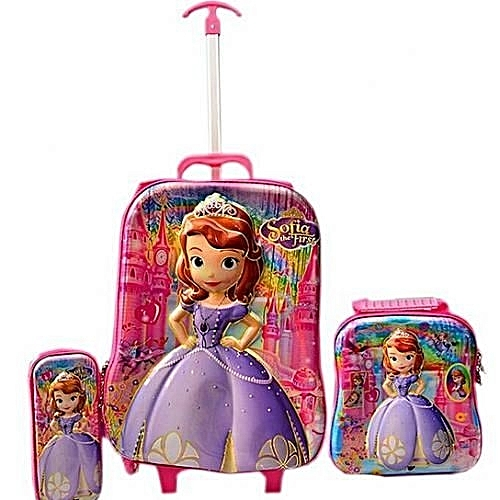 Sofia The First Trolley School Bag For Kids - 3 In 1