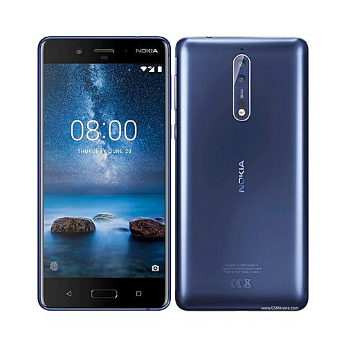 8 5.3- Inch Nokia 8 (4GB,64GB ROM) Dual 13MP + 13MP, Android 7.1 Nougat Dual SIM 4G - Polished Blue