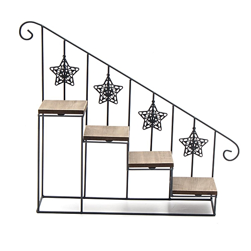 Metal Iron Wpod Wall Shelf Storage Staircase Flower Plant Stand Display Holder 50x40cm