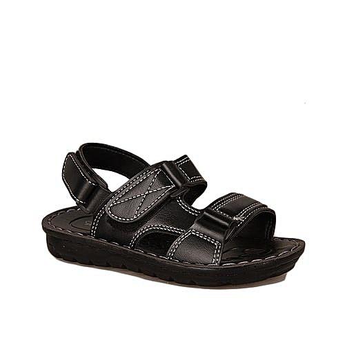 Kids Leather Sandals - Black