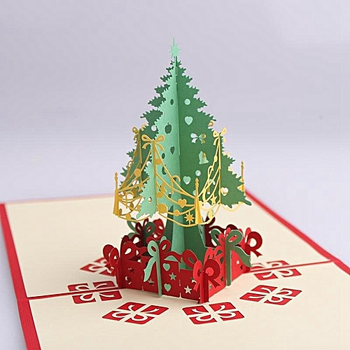 Christmas 3D Cards Pop Up Greeting Holiday Cards Gifts For Xmas/New Year Gift Greeting Cards Papercraft Christmas Supplies