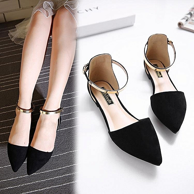 0c9a965705 2017 Women's Pointed Toe Ankle Strap Shoes Ballet Flats Spring Casual  Sandals BLACK