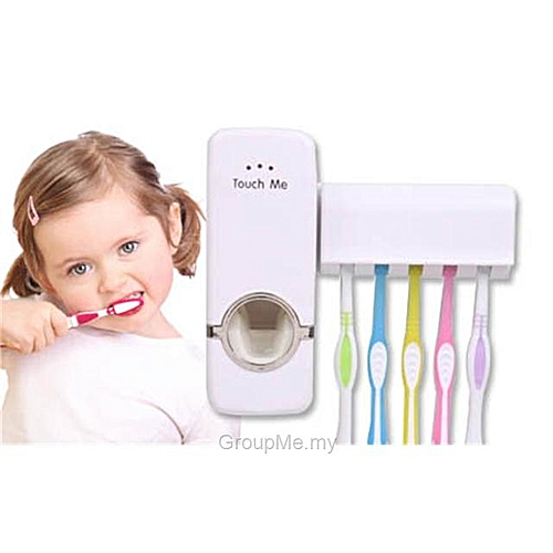 Plastic Automatic Toothpaste Dispenser & 5 Toothbrush Holder