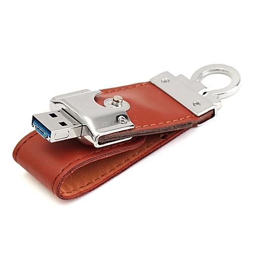 2 IN 1 8/16/32 GB Portable Leather USB2.0 Flash Drive Memory Stick OTG U-Disk