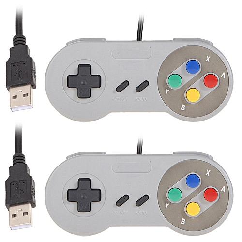 2Pcs Game Controller For Super SNES USB Classic Gamepad GREY