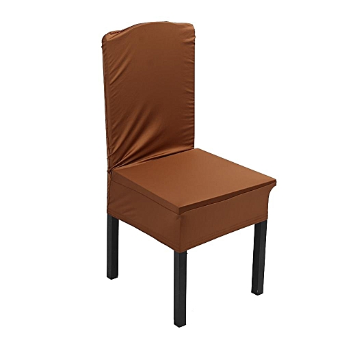 1Pc Elastic Home Chair Seat Covers Candy Colors Slipcover Wedding Chair-seating Decor-#Light Coffee