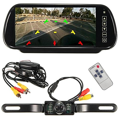 "7"" LCD Mirror Monitor Wireless Car Rear View Backup Reverse IR Camera Kit 12V"