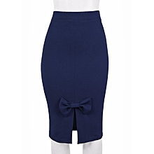 da660047e2 Ladies Pencil Skirt With Bow - Blue