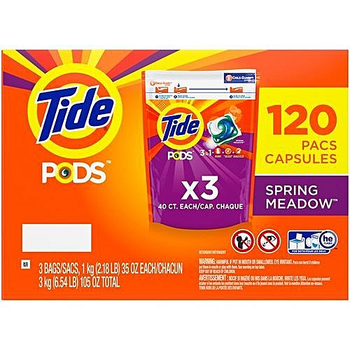 PODS Liquid Laundry Detergent Pacs, Spring Meadow, 120 Count