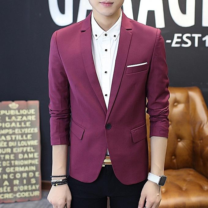 8c8508db5f3 Men s Slim Fit Stylish Casual One Button Suit Coat Jacket Business Blazers  Men Coat High Quality