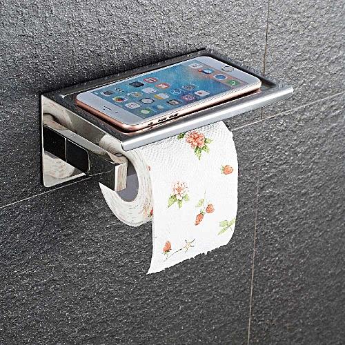 3M Self Adhesive Wall Mount Tissue Stainless Steel Toilet Paper Roll Towel Holder Phone/Soap Storage Shelf Waterproof Brushed