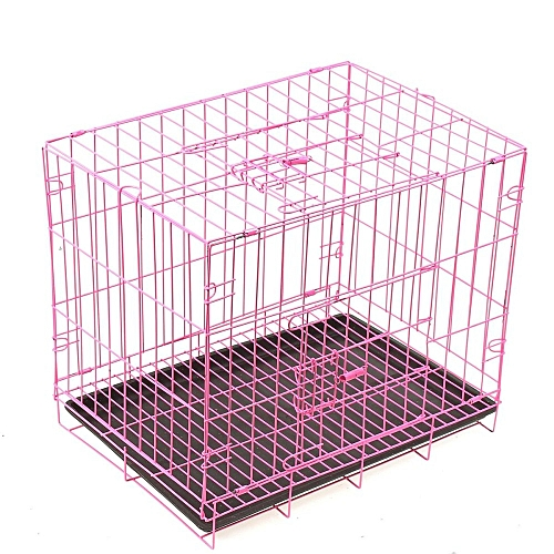Pet Kennel Folding Steel Crate Animal Playpen Wire Metal Cage 20'' For Cat Dog