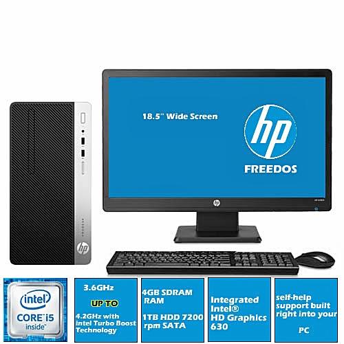 Prodesk 400 G4 Microtower Desktop Intel Corei5 4GB Ram/1TB HDD+18.5'' Monitor( FREEDOS)