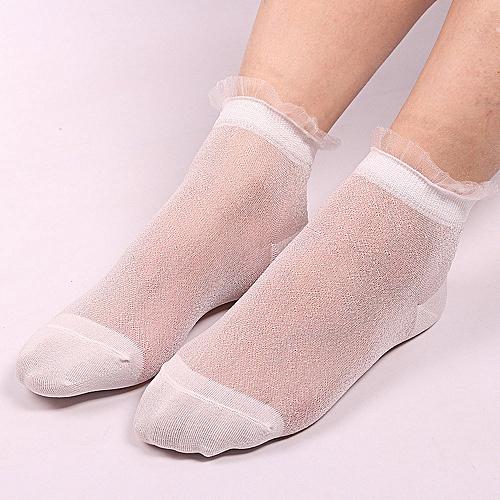 2e90495e745 Fashion Hiamok Summer Women Ladies Sheer Silky Glitter Transparent Short  Stockings Ankle Socks