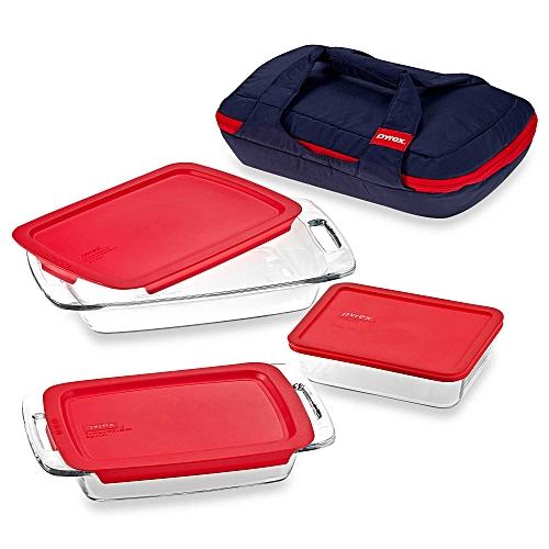 Pyrex Portables 8 Piece Set 3 Baking Dishes Lids 1 Unipack Carrier