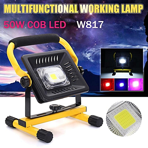 50W LED Portable Rechargeable Flood Light Spot Work Camping Outdoor Lawn Lamp Black