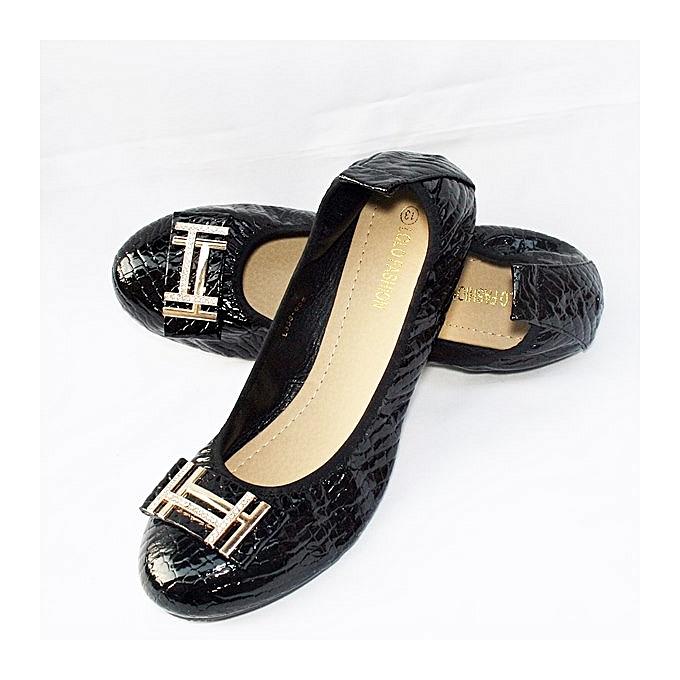 acd2d66a3fc9 Lolo Fashion Unique Women Banana Flat Shoes - Black