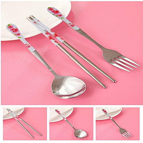3Pcs/1Set Chinese Blue White Porcelain Tableware Fork Spoon Chopsticks