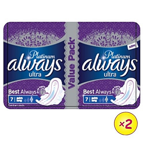 Always Platinum Ultra Sanitary Pad W/flexible Wings - 14 Pads (Pack Of 2)