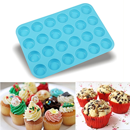 24 Cavity Mini Muffin Silicone Soap Cookies Cupcake Bakeware Pan Tray Mould-Blue
