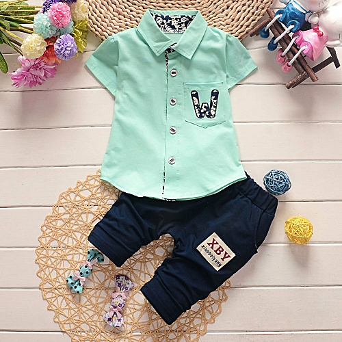 d76010c3404ee Fashion Baby Outfit Infant Baby Boys Girls Letter Pocket T-Shirt Tops Pants  2Pcs Set Outfits Clothes-Green
