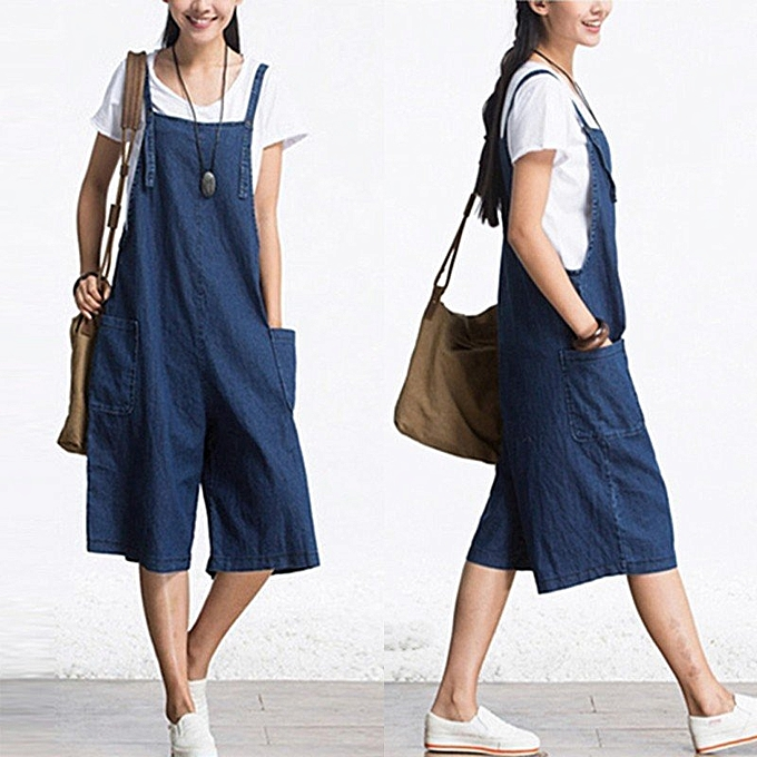 3cc10d94b5 ZANZEA Rompers Womens Jumpsuit Sleeveless Wide Leg Pants Denim Calf Length  Vintage Overalls