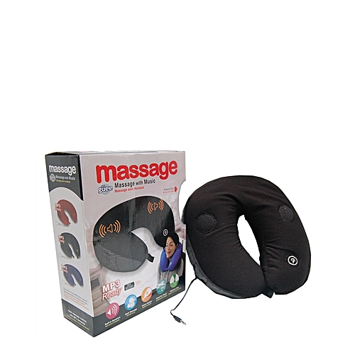 Guee Ergonomically Travel Neck Massage Pillow With Music (Mp3 Ready) - Black