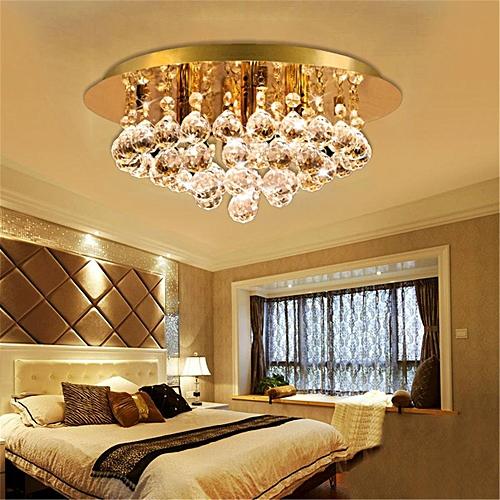 Modern Round Ceiling Chandelier Light Crystal Droplets GOLD STX50019-4G0