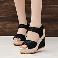 ece3698ef98 Summer Women Sandals Lace Fish Mouth Thick Platform Wedge High Heel Shoes