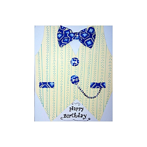 Handmade Men's Shirt With Inner Jacket And Africa Print Bow Tie Birthday Greetings Card - Cream