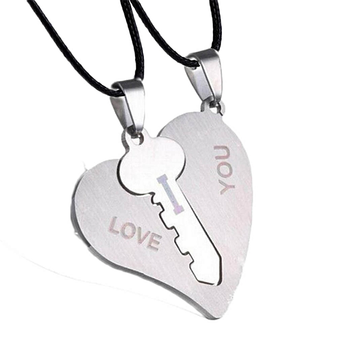 Buy fashion new silver plated heart puzzle key couple necklace heart new silver plated heart puzzle key couple necklace heart lock couple pendant necklace mozeypictures Image collections