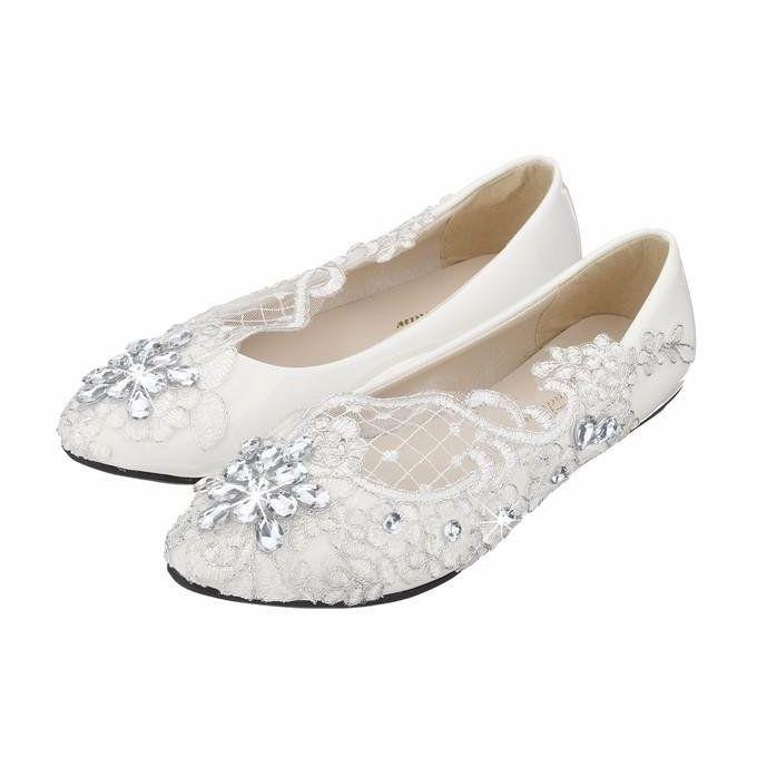Lace Bridal Crystal Wedding Shoes Rhinestone Low Heel Flat Bridesmaid Prom WHITE