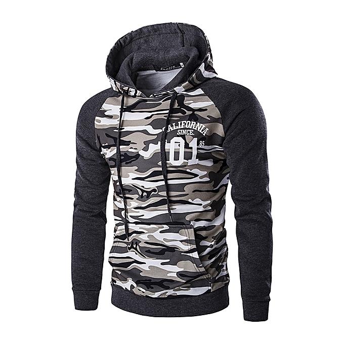 Größe 40 Qualitätsprodukte dauerhafte Modellierung Hoody Mens Camouflage Pullover Hoodies Casual Slim Hooded Sweatshirts - Grey