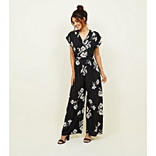 f0757c0250c Black Floral Double Breasted Jumpsuit