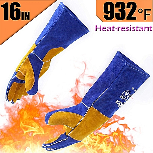 Leather Forge Welding Gloves Heat/Fire Long Sleeve–Blue
