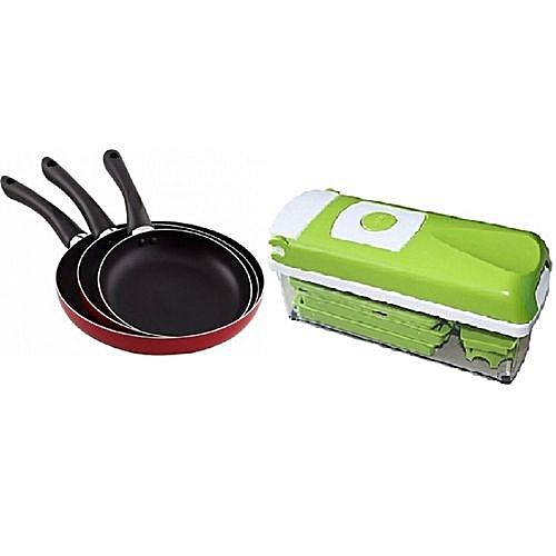 Kitchen Bundles - Non-Stick Fry Pan Set Of 3 + Nicer Dicer