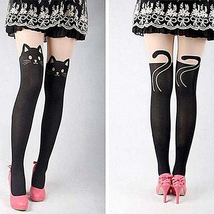 35ed73ae2 ... Kitten Print Knee High Length Socks CAT Tail Tattoo Tights Pantyhose  Stockings
