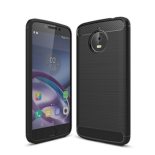 For Motorola Moto E4 Plus Brushed Texture Carbon Fiber Shockproof Tpu  Rugged Armor Protective Case (black)