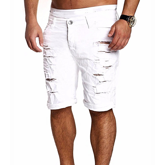 f3478f4317b Mens Jeans Slim Fit Straight Skinny Denim Trousers Casual Shorts Pants White