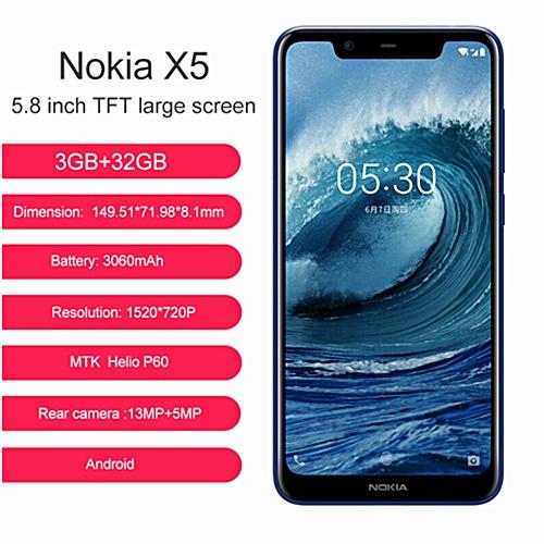 X5-5.86-Inch HD+(3GB RAM +32GB ROM) Android 8.1, (13.0MP + 5.0MP) + 8.0MP, 4G LTE Smartphone - Blue