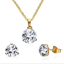 d0ea7c901 Stainless Steel Gold Jewelry Sets For Women Rhinestone Crystal Wedding  Necklace Earring Set