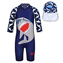 b303b669c Kids Boys Shark Pattern Printed Zipper Swimsuit 2Pcs Set