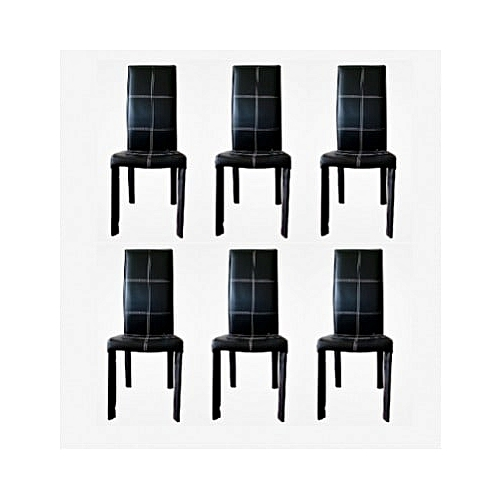 Contemporary Leather Dinning Chair - Black - Set Of 6