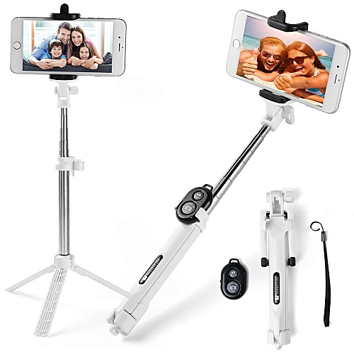 Extendable Selfie Stick Monopod Tripod Remote Bluetooth Shutter For Infinix Tecno IPhone 7/7 Plus 6s/6 Plus Samsung S8 / S8+ / S7 / S6 Edge Plus And Other Smart Phones